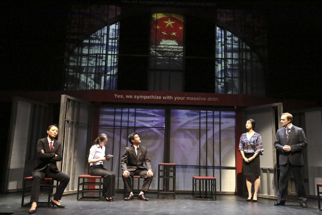 (L-R) Leann Lei as Prosecutor Li, Joy Yao as translator Zhao, Ewan Chung as Judge Xu Geming, Kara Wang s Vice Minister Xi Yan, and Mattew Jaeger as Daniel Cavanaugh in East West Players production of David Henry Hwang's Chinglish.