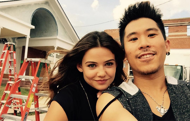 Danielle Campbell and Lawrence Kao on the set of The Originals